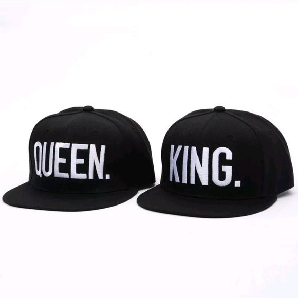 King Queen Baseball Cap Hat Black White Couples b198f2e00ec6